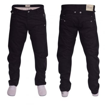 Crosshatch Mens Kractus Designer Twisted Leg Regular Fit Tapered Chinos Jeans Black