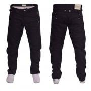 Crosshatch Mens Kractus Designer Twisted Leg Regular Fit Tapered Chinos Jeans Black