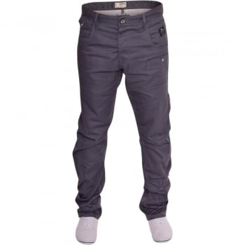 Crosshatch Mens Kractus Designer Twisted Leg Regular Fit Tapered Chinos Jeans Grey