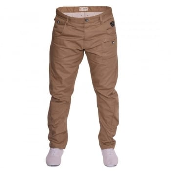 Crosshatch Mens Kractus Designer Twisted Leg Regular Fit Tapered Chinos Jeans Tan