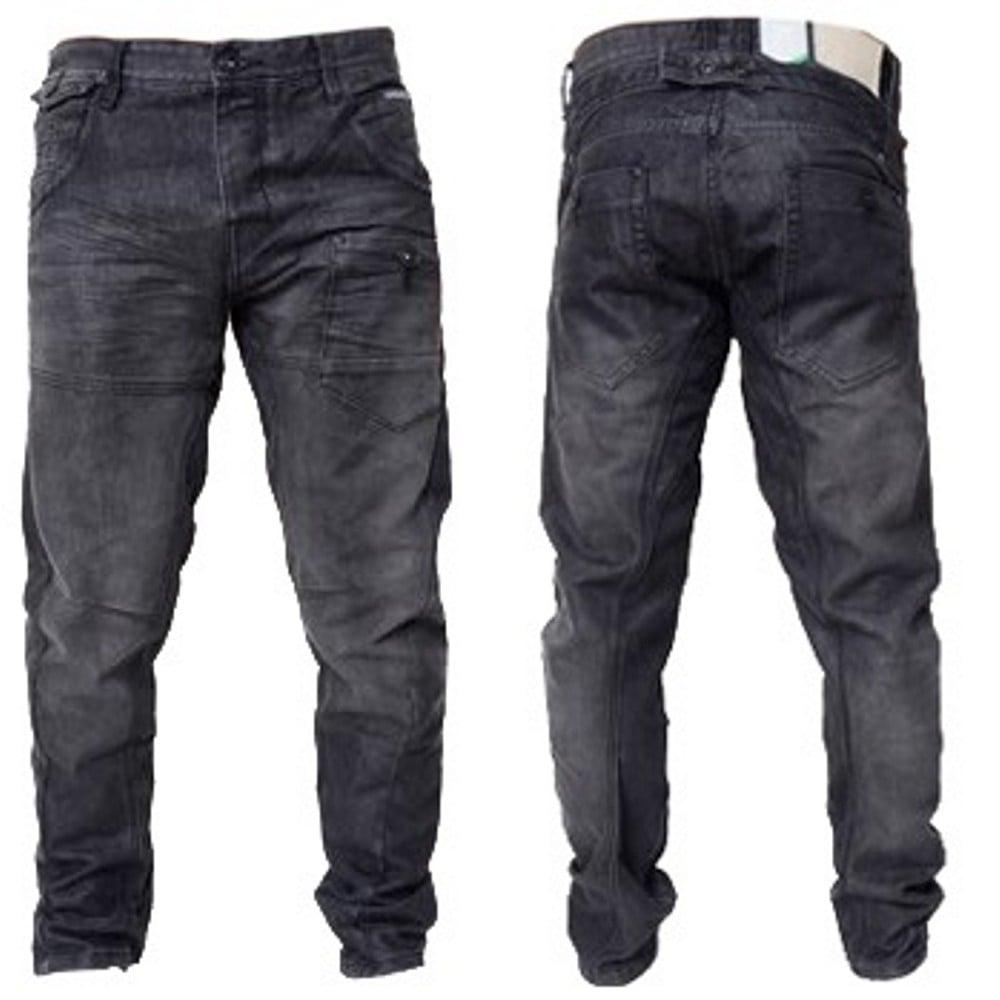 Regular Fit ajustados Designer Twisted Mens Jeans Kractus Blackwash Leg Crosshatch nX8qYBx