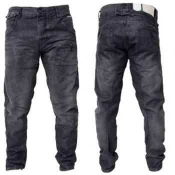 Crosshatch Mens Kractus Designer Twisted Leg Regular Fit Tapered Jeans Blackwash