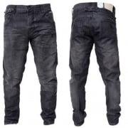 Crosshatch Mens Kractus Designer Twisted Leg Regular Fit Tapered Jeans Blackwash