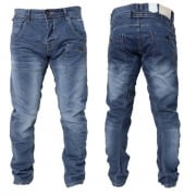 Crosshatch Mens Kractus Designer Twisted Leg Regular Fit Tapered Jeans Darkwash