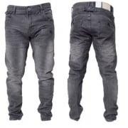 Crosshatch Mens Kractus Designer Twisted Leg Regular Fit Tapered Jeans Greywash