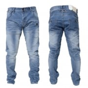 Crosshatch Mens Kractus Designer Twisted Leg Regular Fit Tapered Jeans Midwash