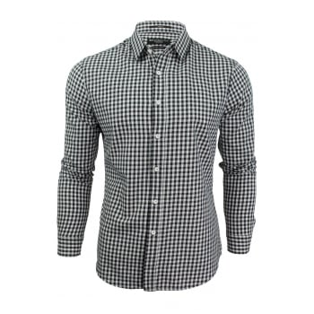 Crosshatch Mens Larix Gingham Cotton Shirt Navy