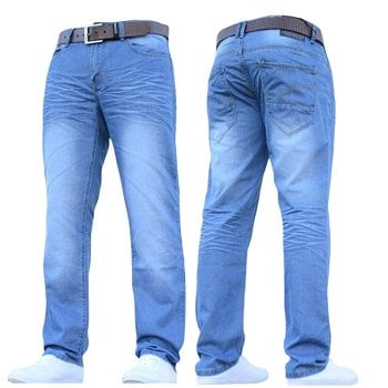 Crosshatch Men's New Fashion Farrow Jeans Straight Fit Vintage Light Wash Denim