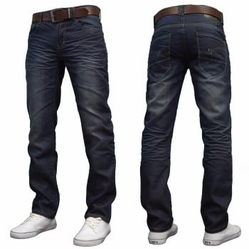 Crosshatch Men's New Fashion Jeans Straight Fit Vintage Faded Blue Denim Farrow