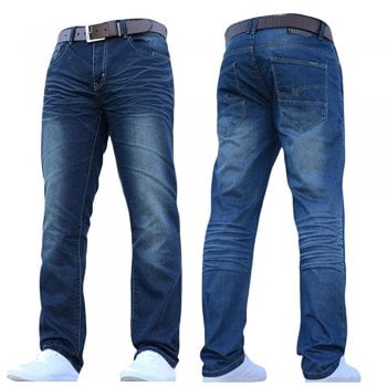 Crosshatch Men's New Fashion Jeans Straight Fit Vintage Faded Mid Denim Farrow