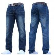 Crosshatch Men's New Fashion Jeans Straight Fit Vintage Faded Mid Denim Farrow