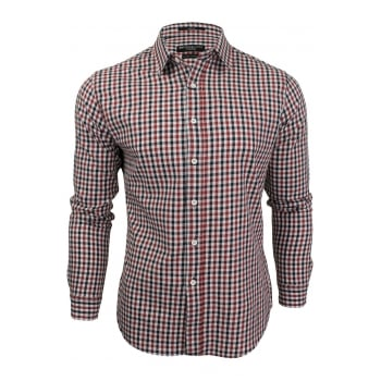Crosshatch Mens New Larix Gingham Cotton Shirt Red