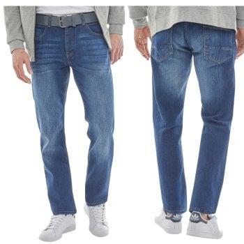 Crosshatch Mens New Wayne Two Slim Fit Jeans Mid Wash