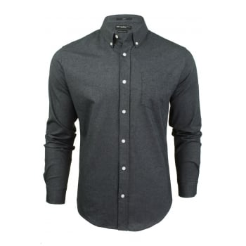 Crosshatch Mens Oxford Almond Cotton Shirt Black