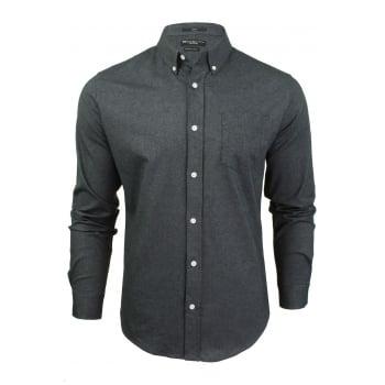 Crosshatch Mens Oxford Almond Cotton Shirt Black
