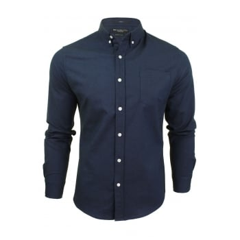 Crosshatch Mens Oxford Almond Cotton Shirt Navy