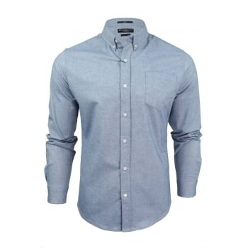 Crosshatch Mens Oxford Almond Cotton Shirt Sky Blue