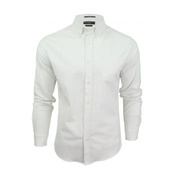 Crosshatch Mens Oxford Almond Cotton Shirt White