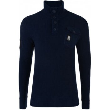 Crosshatch Mens Smart Funnel Neck Knitted Jumper Button Collar Whiteway Navy