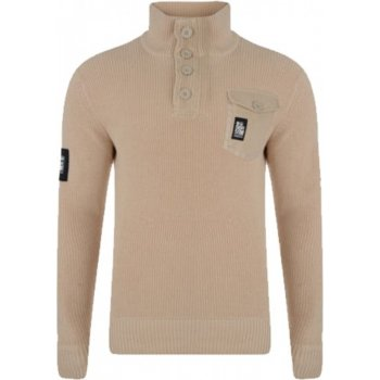 Crosshatch Mens Smart Funnel Neck Knitted Jumper Button Collar Whiteway Peyote