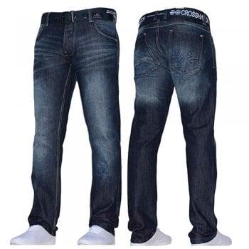 Crosshatch Mens Techno Embossed Straight Leg Jeans Dark Used Look