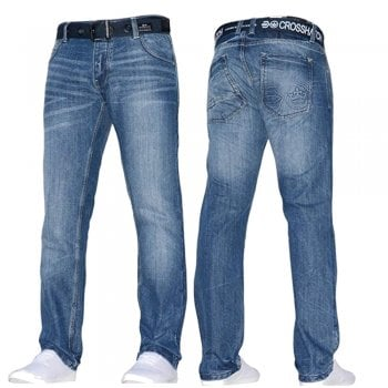 Crosshatch Mens Techno Straignt Leg Jeans Mid Used Look