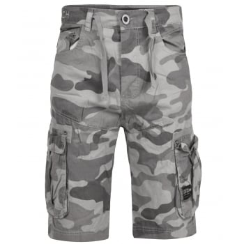 Crosshatch Mens Utility Designer Cargo Comouflage Shorts Grey