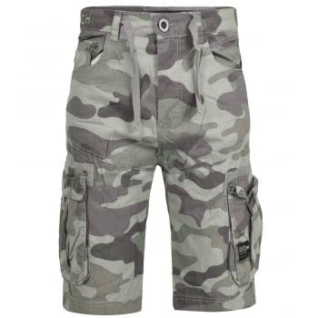 Crosshatch Mens Utility Designer Cargo Comouflage Shorts Olive