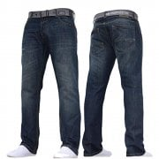 Crosshatch Mens Wak New Straignt Leg Jeans Dark Wash