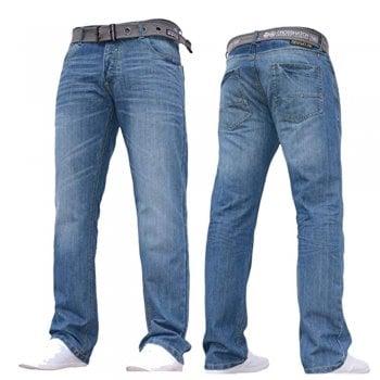 Crosshatch Mens Wak New Straignt Leg Jeans Mid Stonewash