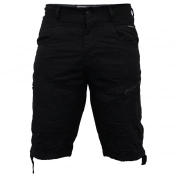 Crosshatch Mens Wynfrey Designer Cargo Combat Chino Shorts Black