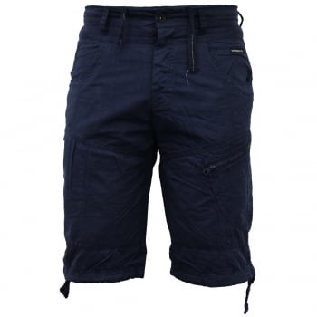Crosshatch Mens Wynfrey Designer Cargo Combat Chino Shorts Blue