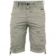 Crosshatch Mens Wynfrey Designer Cargo Combat Chino Shorts Pussywillow Gray