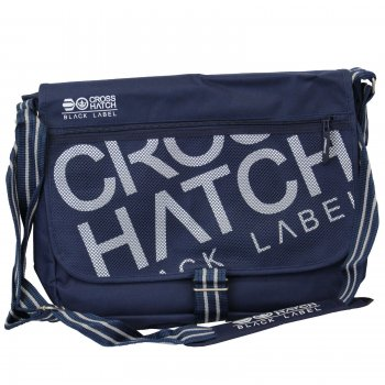 Crosshatch Nabure Messenger Bag Laptop School College Navy