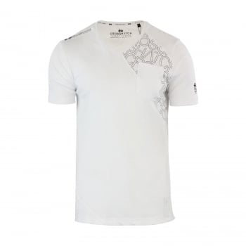 Crosshatch New Mens Casual Graphic V Neck T Shirt Lightfeet White