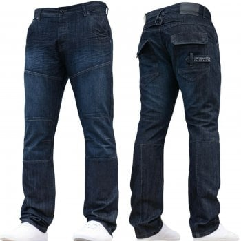 Crosshatch New Mens Woodel Straignt Leg Jeans Dark Wash