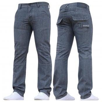 Crosshatch New Mens Woodel Straignt Leg Jeans Grey Coated