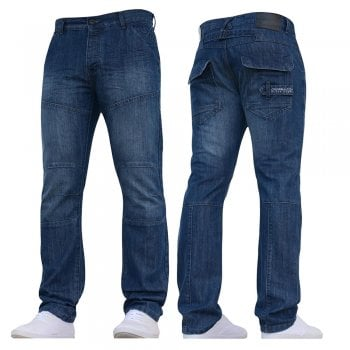 Crosshatch New Mens Woodel Straignt Leg Jeans Stonewash