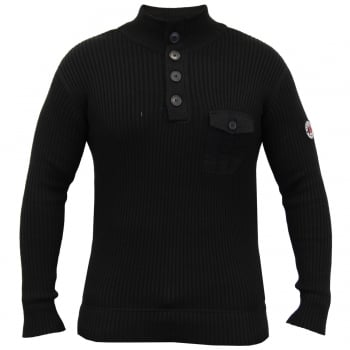 Crosshatch Pendalton Cotton Ribbed Funnel Neck Knit Jumper Black