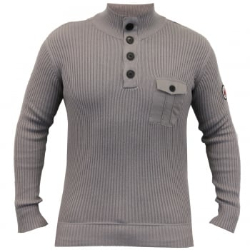 Crosshatch Pendalton Cotton Ribbed Funnel Neck Knit Jumper Titanium