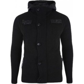 Crosshatch Shavlax Nylon 2 Layers Knitted Button Zip Up Hooded Black