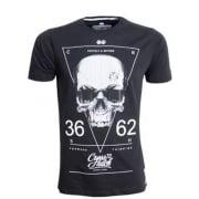 Crosshatch Triskull Designer Casual Skull T Shirt Black