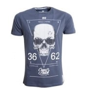 Crosshatch Triskull Designer Casual Skull T Shirt Blue Night