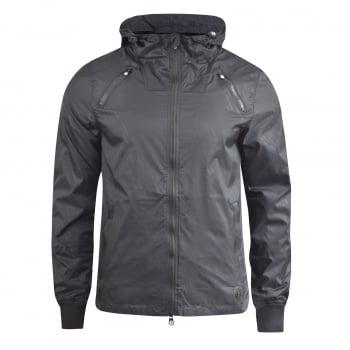 Crosshatch Windbreaker Jacket Lightweight Zip Summer Achernar Hooded Top Black