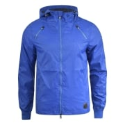 Crosshatch Windbreaker Jacket Lightweight Zip Summer Achernar Hooded Top Royal Blue