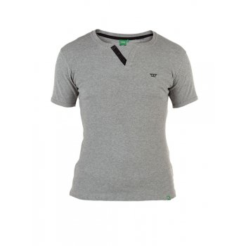 D555 Alanzo Button Up Ribbed Fitted T-Shirt Grey