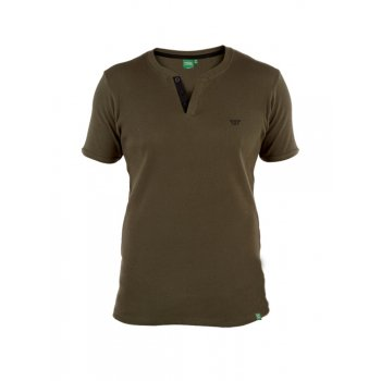 D555 Alanzo Button Up Ribbed Fitted T-Shirt Khaki
