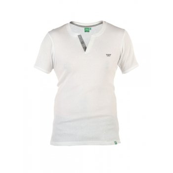 D555 Alanzo Button Up Ribbed Fitted T-Shirt White