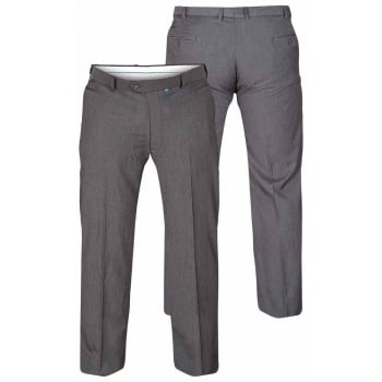 D555 Mens Formal Stretch Flexi Waist Trousers Supreme In Charcoal