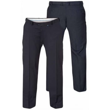 D555 Mens Formal Stretch Flexi Waist Trousers Supreme In Navy